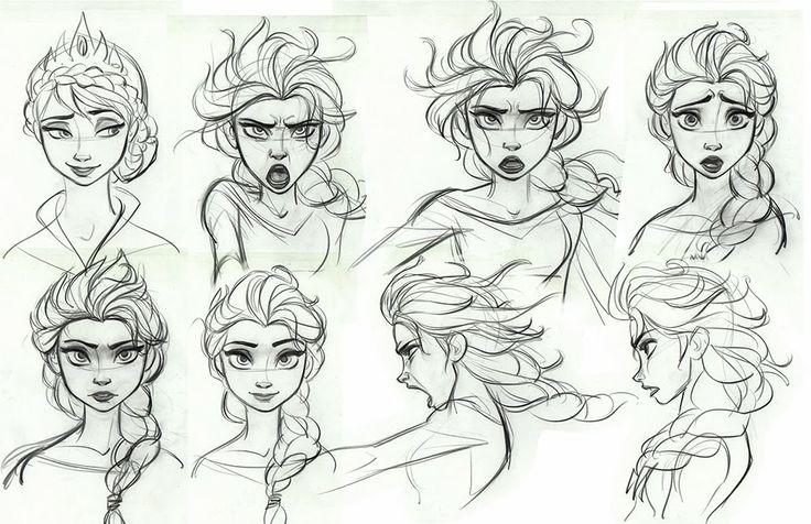 736x476 Disney Character Design Elsa Frozen Drawing Heads