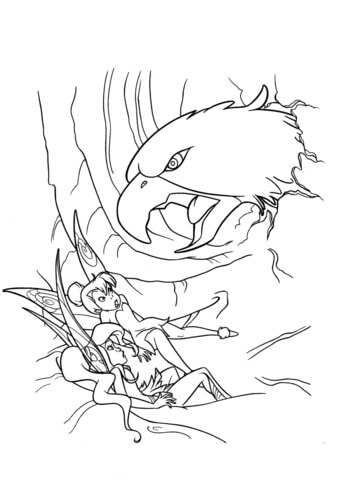 342x480 Vidia And Tinkerbell Are Attacked By Hawk Coloring Page Free