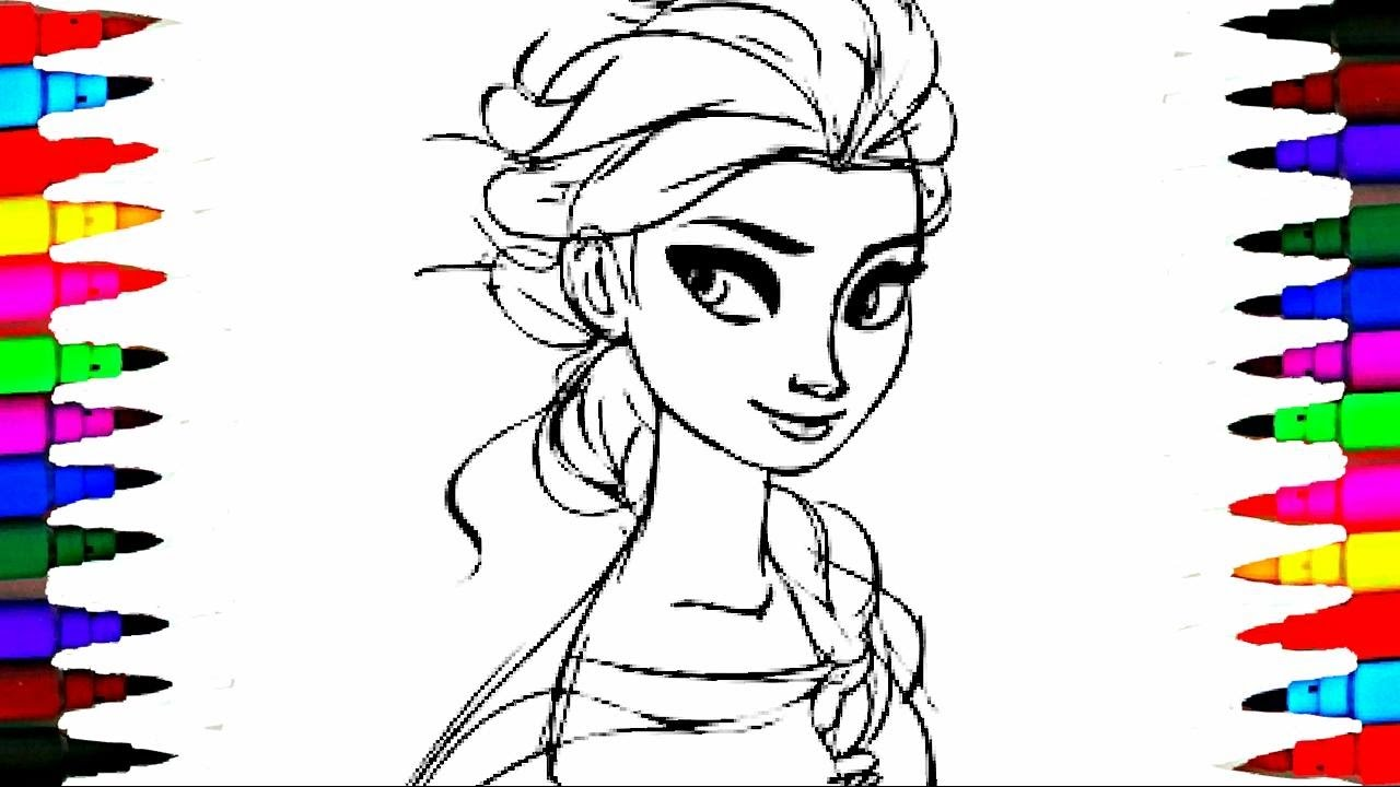 1280x720 Learn Coloring Elsa Kids Cartoons Disney Frozen Princess Coloring
