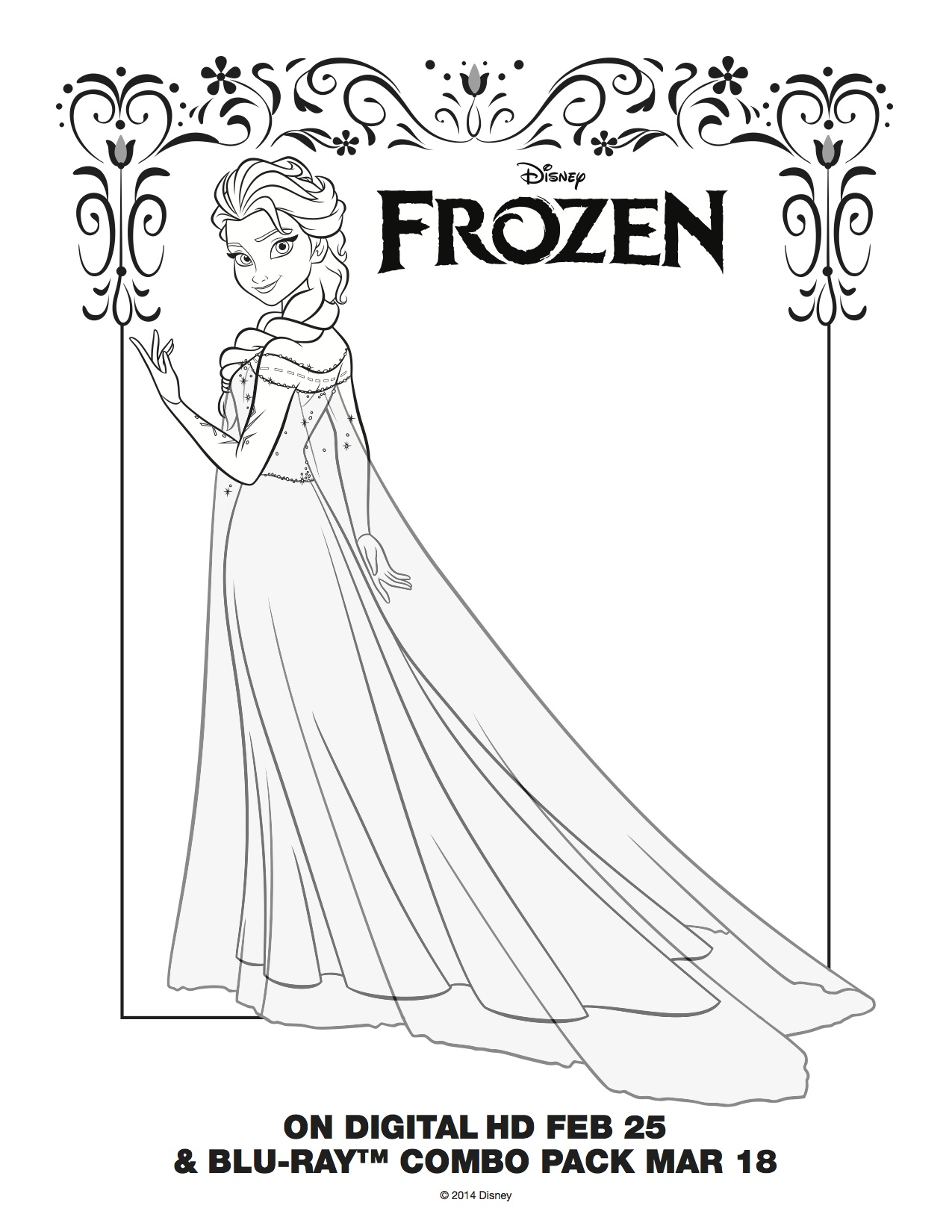 1275x1650 Elsa coloring page The Sun Flower Pages