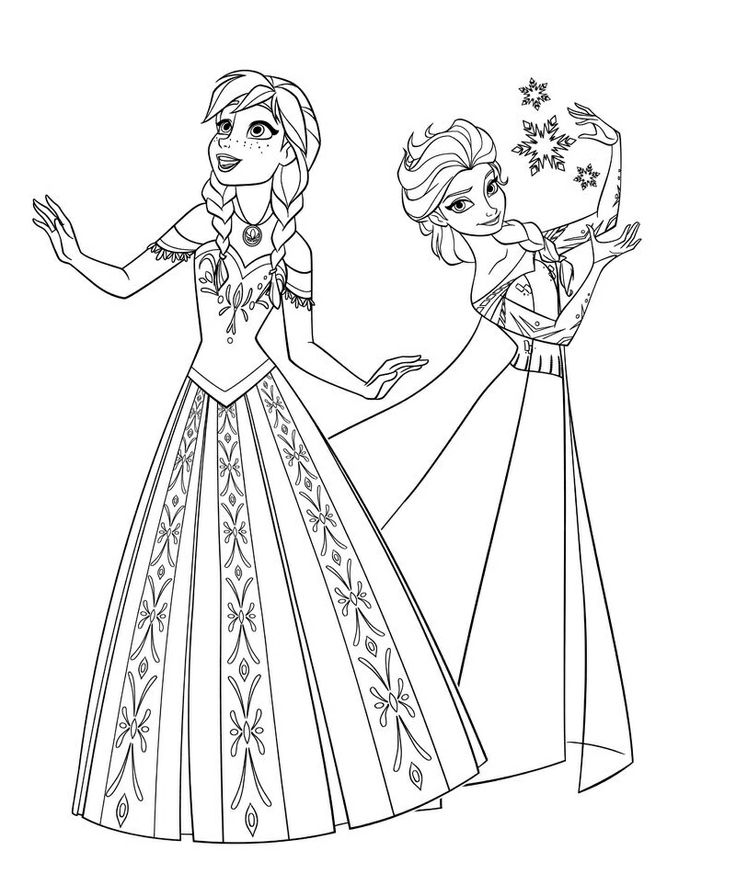 736x885 Frozen Elsa And Anna Coloring Pages