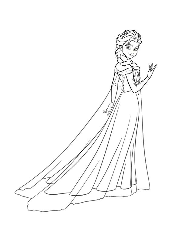 Coloring Page 600x777 Frozen Elsa Drawing Full Body Step