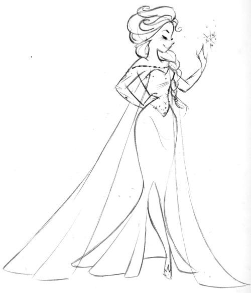 500x585 Fun Sketch Disney Princess Steve Thompson Frozen Elsa Disney'S