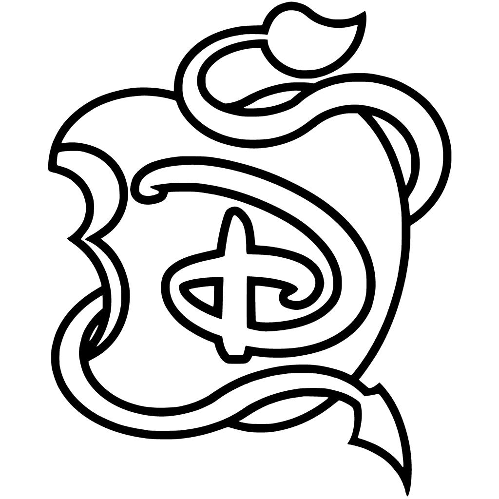 1024x1024 Disney Descendants Logo Apple Black And White Coloring Page