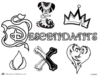 400x309 Descendants Coloring Page Logo Disney Channel Movie Printables
