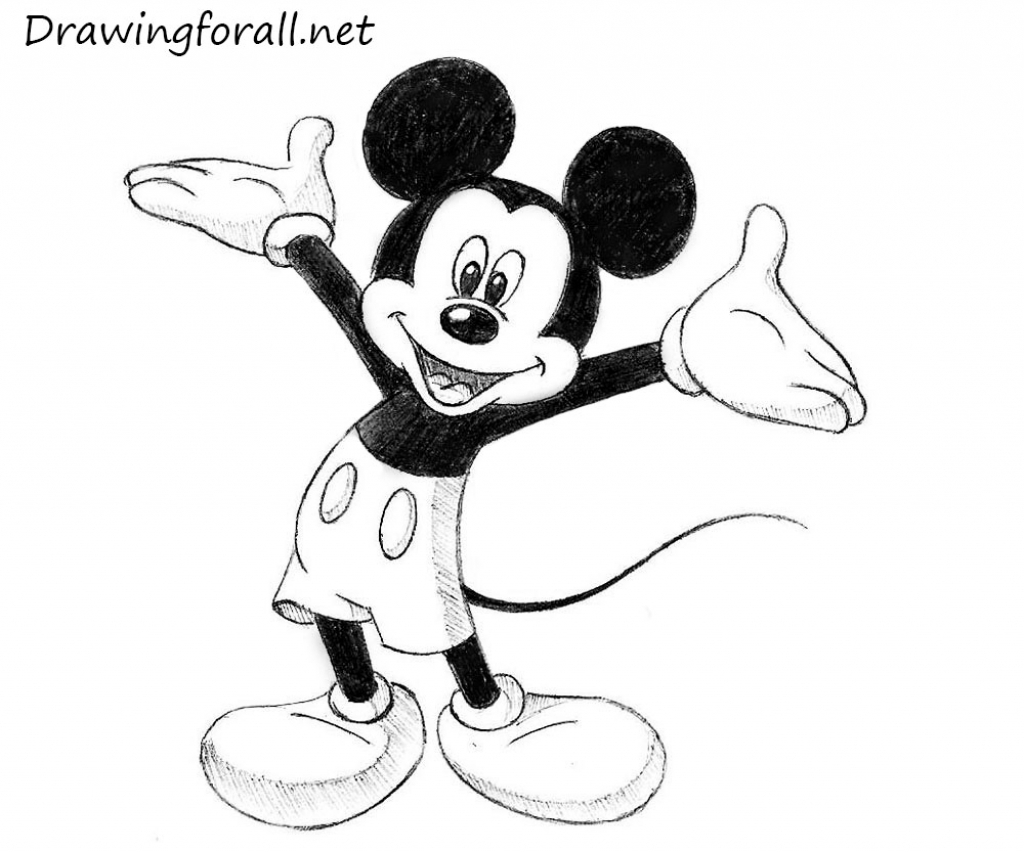 1024x852 Mickey Mouse Painting In Pencil Best Disney Character Drawings