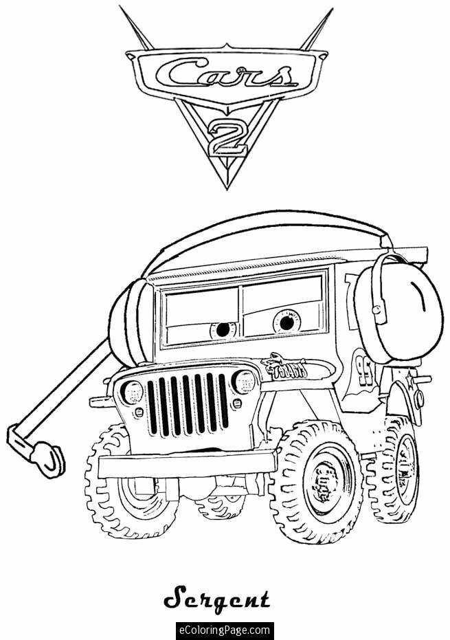 655x931 Cars 2 Printable Coloring Pages Sarge