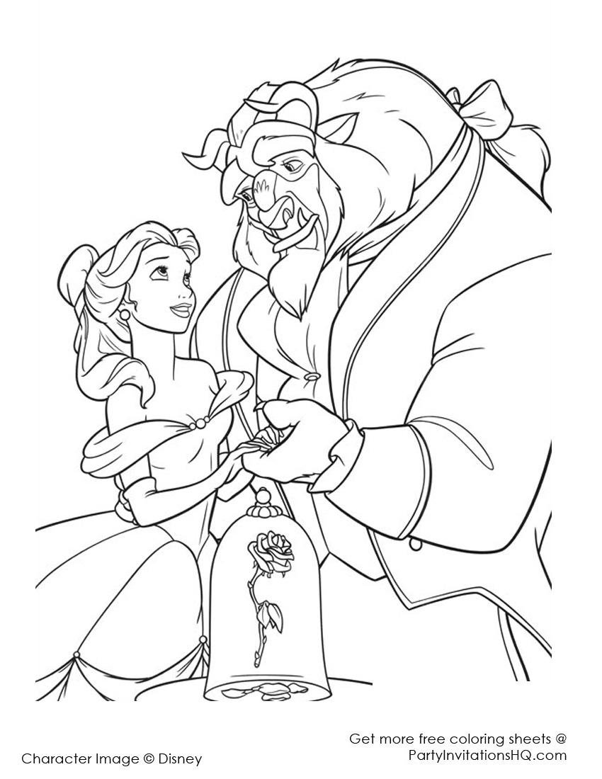 850x1100 Disney Beauty And The Beast Coloring Pages