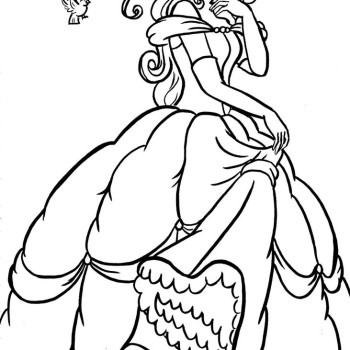 350x350 Disney Princess Belle Coloring Page Free Download