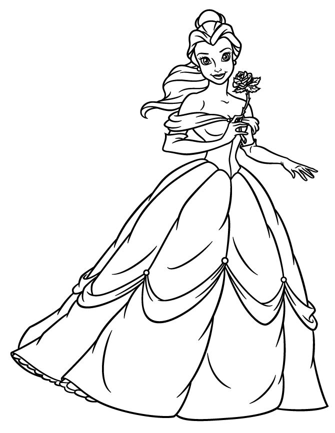 670x867 Disney Princess Belle Coloring Pages