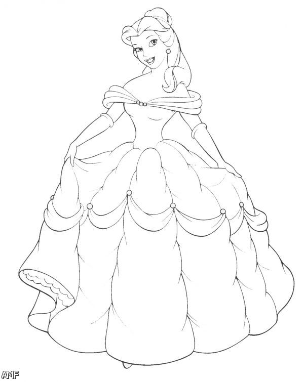 600x755 Belle And Cinderella Coloring Pages Page Image Clipart Images