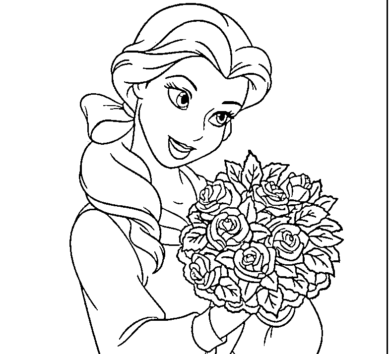 784x714 Disney Princess Belle And Her Gown Coloring Sheet, Belle Coloring