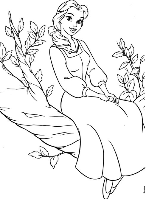 500x668 Disney Princesses Belle Coloring Pages Coloring For Kids