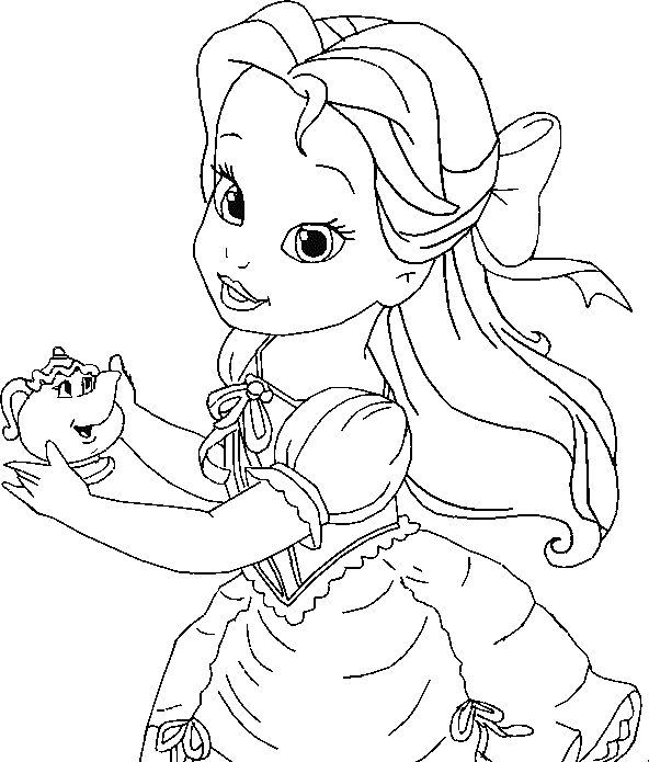 592x695 Belle Coloring Pages Disney Princess Belle Coloring Pages To Kids