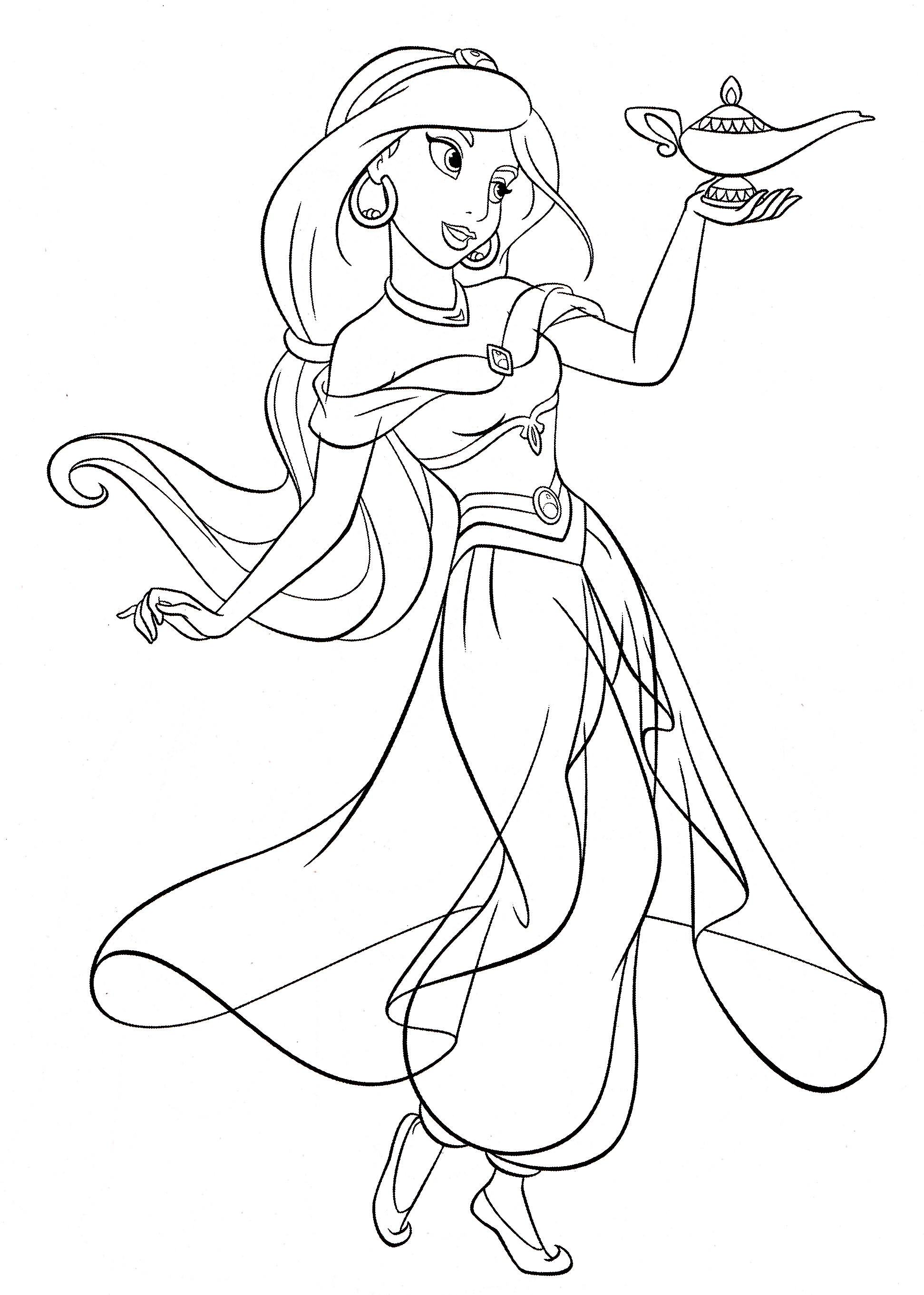 1943x2723 Disney Princess Coloring Pages Jasmine For Cure Draw Printable