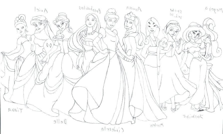 894x537 Printable Coloring Pages Disney Princess Draw Background All