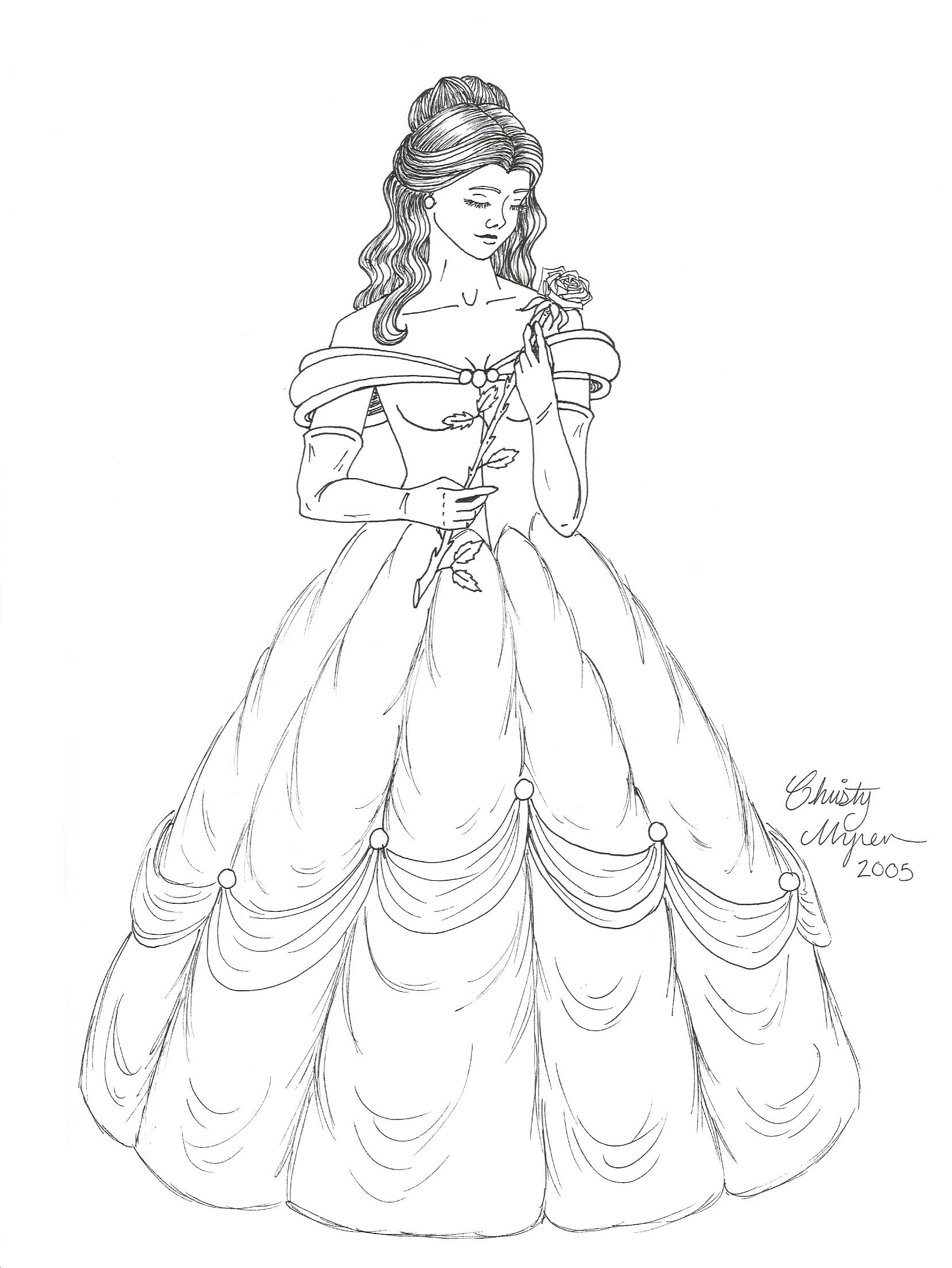 1656x2204 Princess Bell Dress Pencil Drawings Speed Drawing Belle