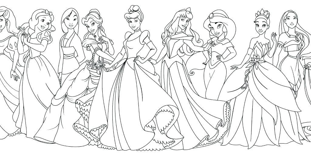 1024x514 Disney Princesses Coloring Page Coloring Pages Baby Princess