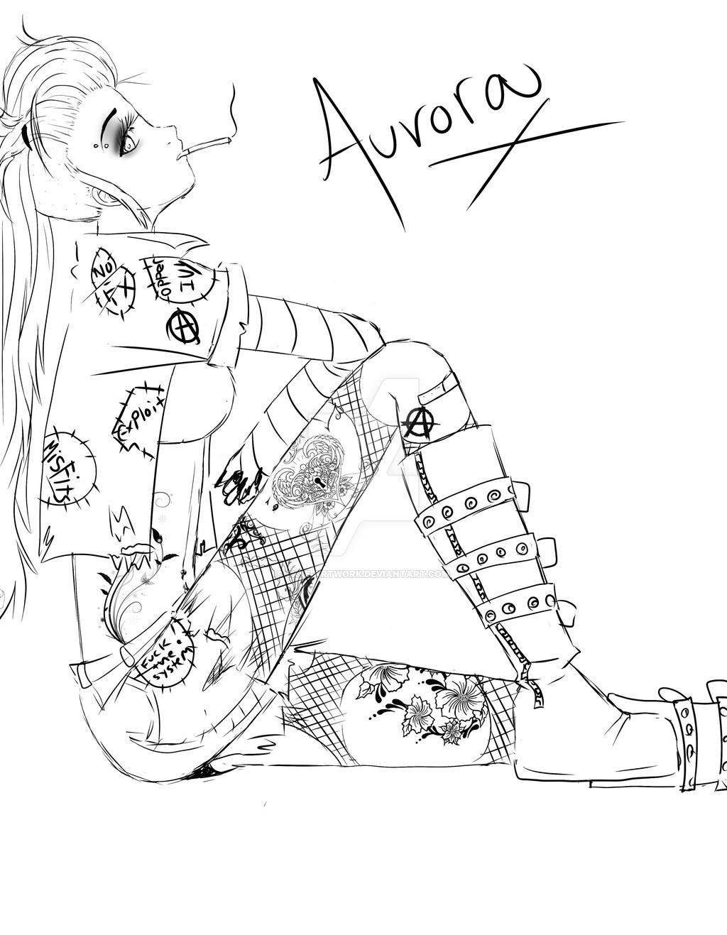 1024x1317 Punk Rock Disney Princesses Aurora By Skye Artwork