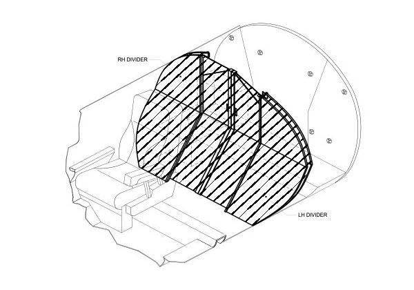 600x420 Citation Aft Pocket Divider Aviation Fabricators