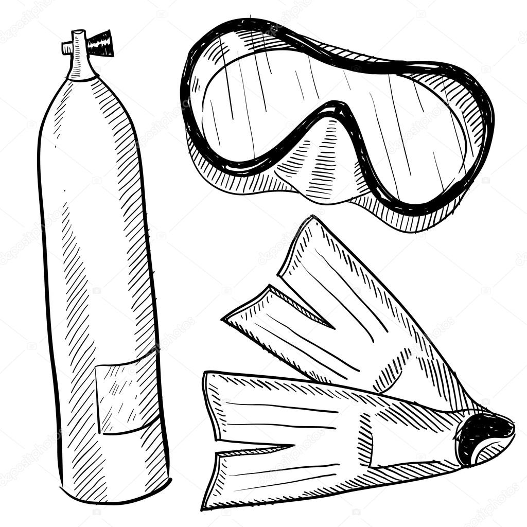 1024x1024 Scuba Diving Objects Sketch Stock Vector Lhfgraphics