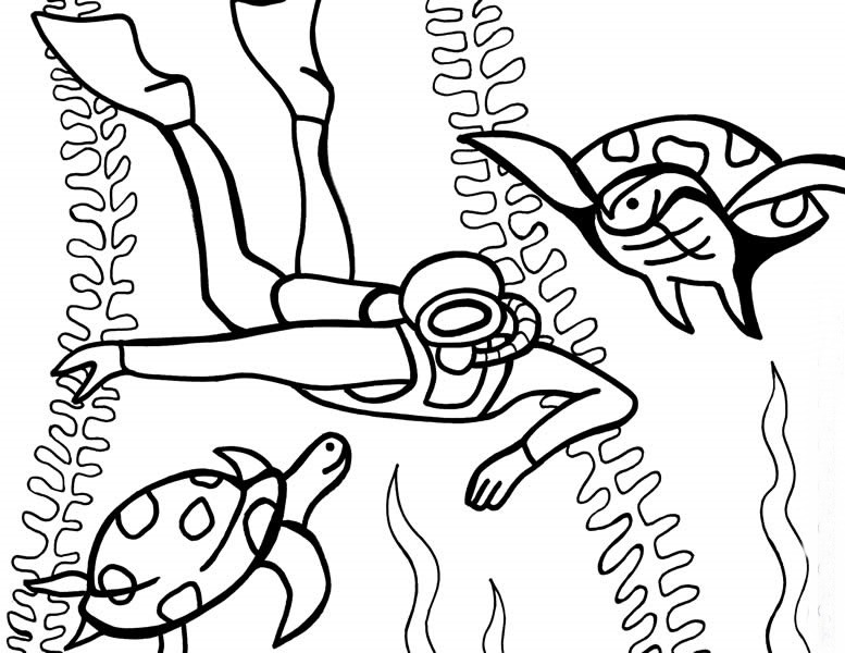 777x600 Under The Sea Diving Coloring Pages