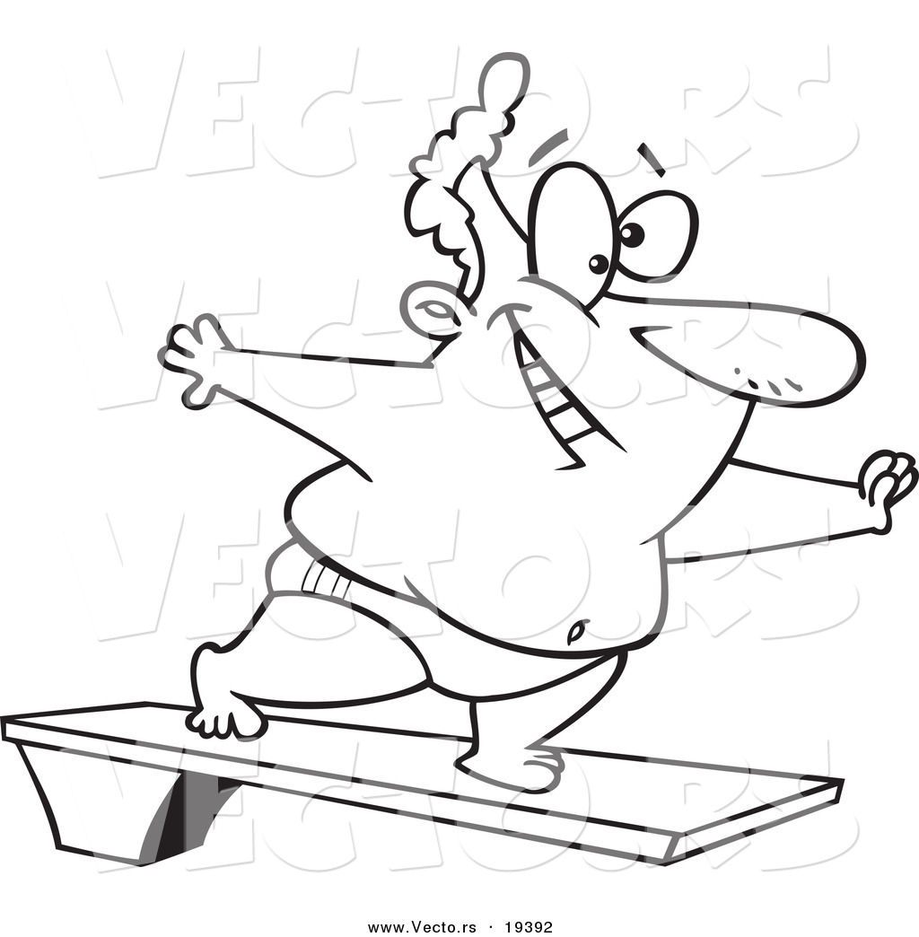 1024x1044 Vector Of A Cartoon Chubby Man On A Diving Board