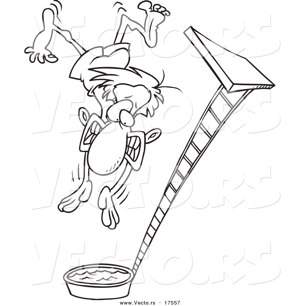 1024x1044 Vector Of A Cartoon Regretful Man Falling From A High Dive