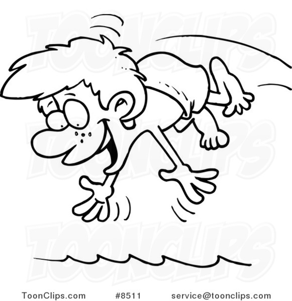 581x600 Cartoon Black And White Line Drawing Of A Diving Boy