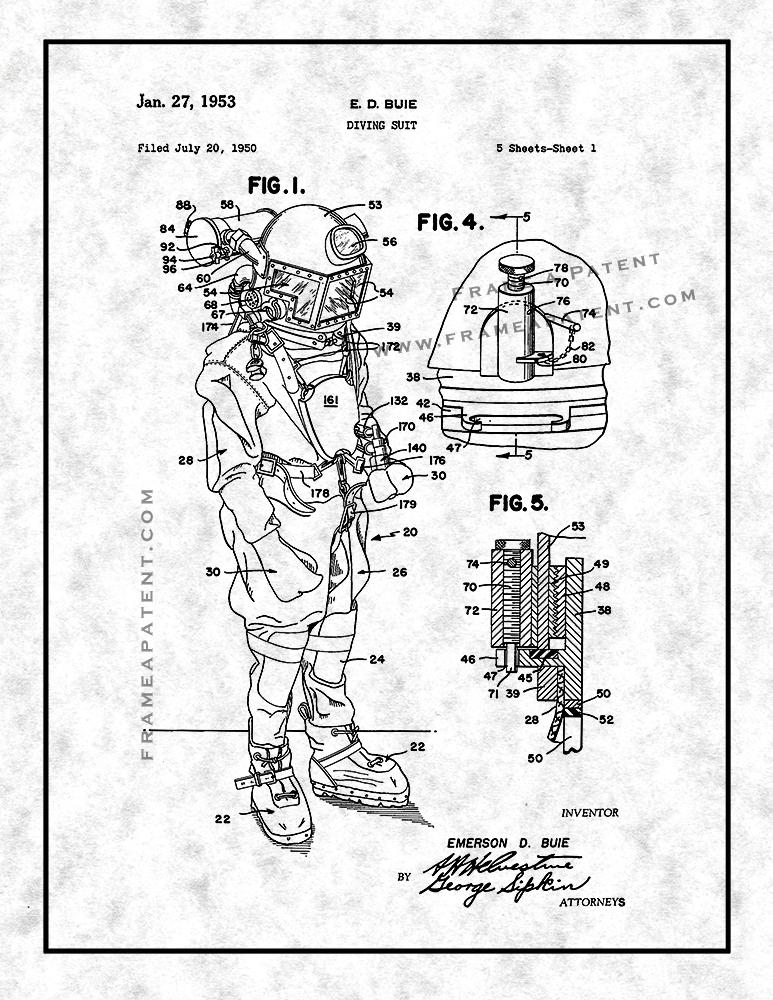 773x1000 Diving Suit Patent Print Patent Prints, Invention Artwork