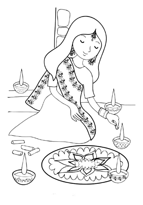600x857 girl painting rangoli for diwali festival coloring page
