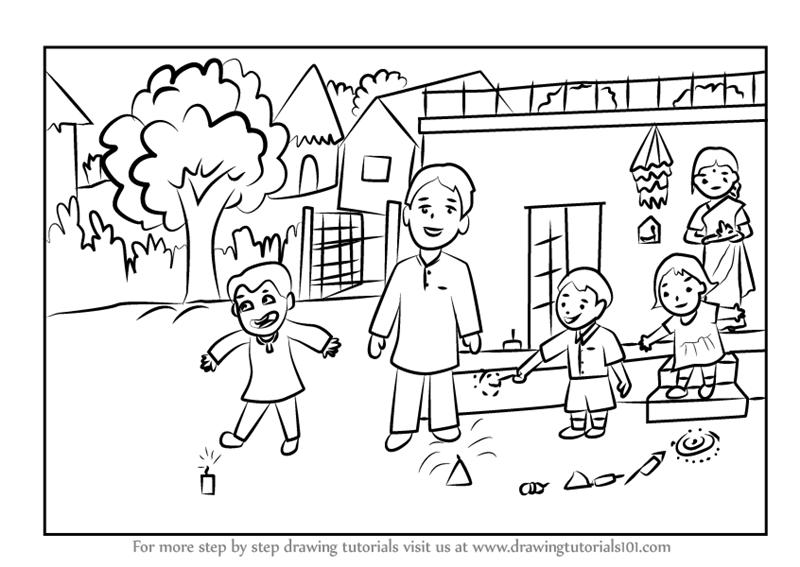 800x567 Learn How To Draw A Diwali Scene (Diwali) Step By Step Drawing