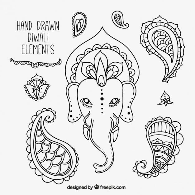 626x626 Sketches Elements Set Of Diwali Festival Vector Free Download