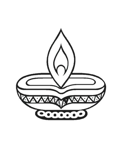 400x506 Diwali Lamp Colouring Pages Coloring