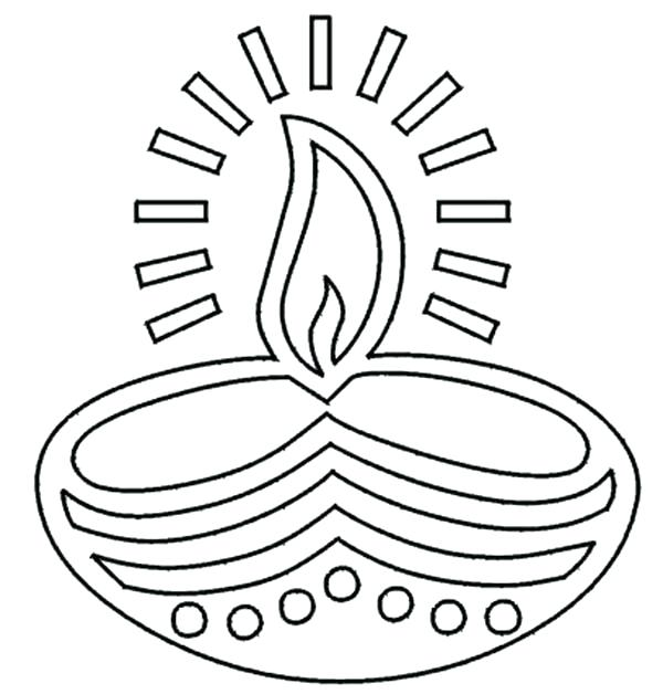 600x628 Diwali Lamp Colouring Pages Festival Of Lights Coloring Page