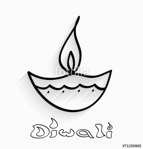 480x500 Happy Diwali Stylish Diya Indian Festival Lamp On Grey Vector