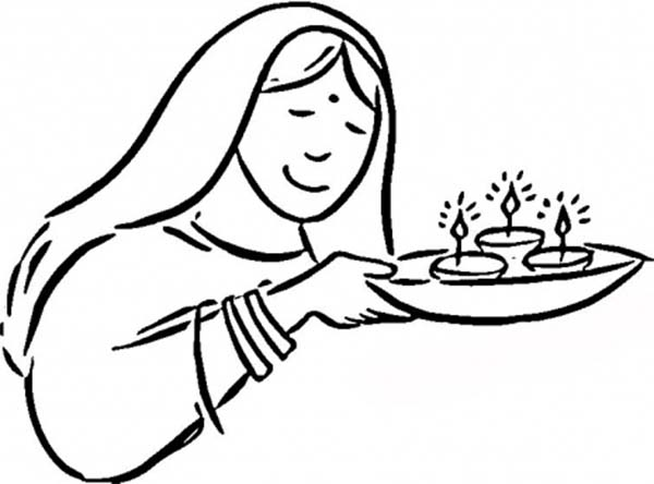 600x444 Bring The Light Of Candles In Diwali Coloring Page