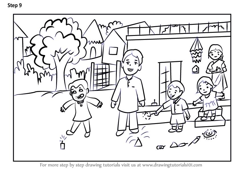 846x600 Learn How To Draw A Diwali Scene (Diwali) Step By Step Drawing