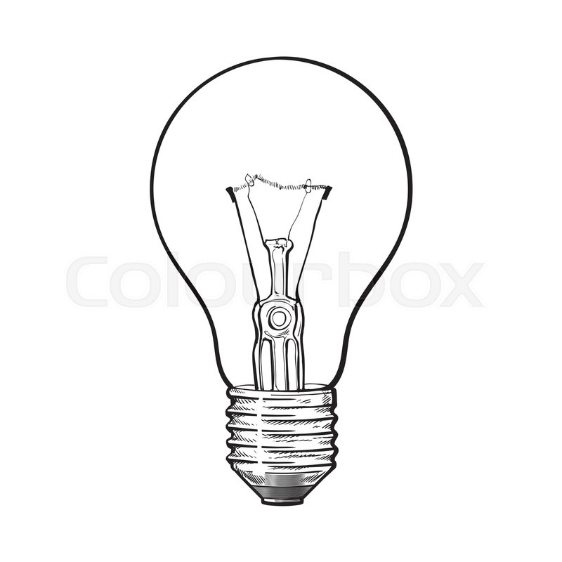 800x800 Traditional Transparent Tungsten Light Bulb, Side View, Sketch