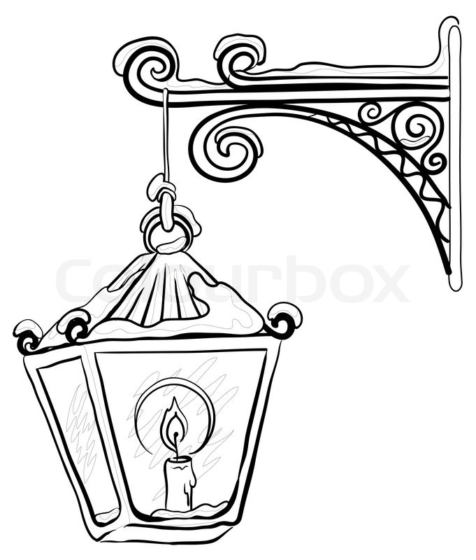 681x800 Vintage Street Lamp Glowing In The Snow, Hanging On A Decorative