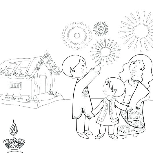 528x530 Diwali Coloring Pages Convobox.co