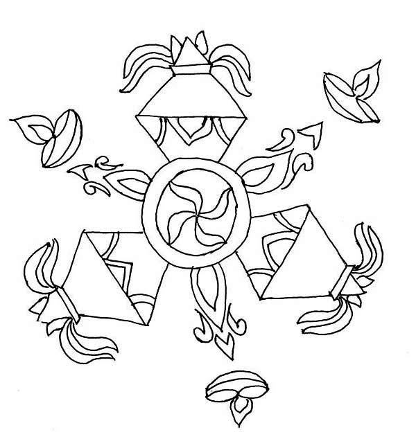 600x634 rangoli design special for diwali coloring page