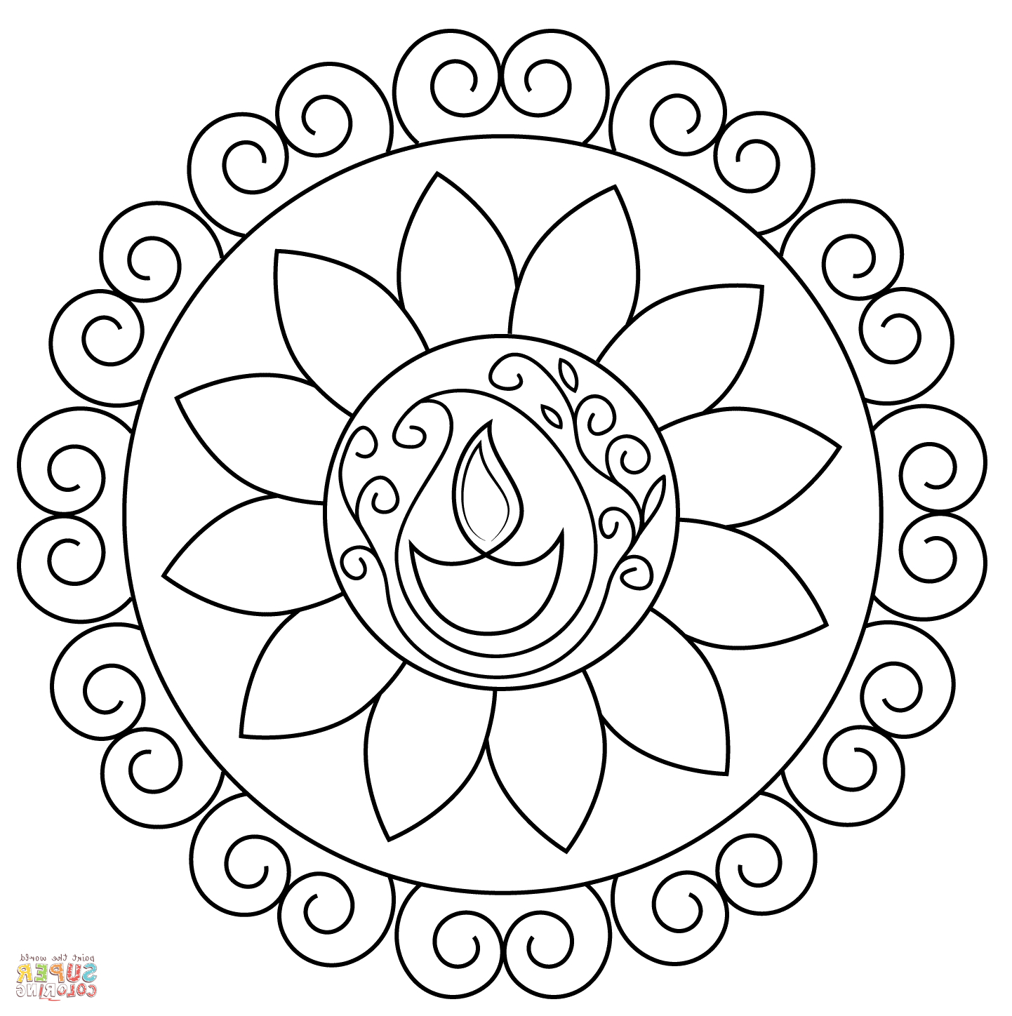 1442x1448 Coloring Rangoli Full Hd Photo Rangoli Design Coloring Printable