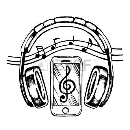 450x450 Headphones Doodle Sketch Style Vector Illustration With Musical