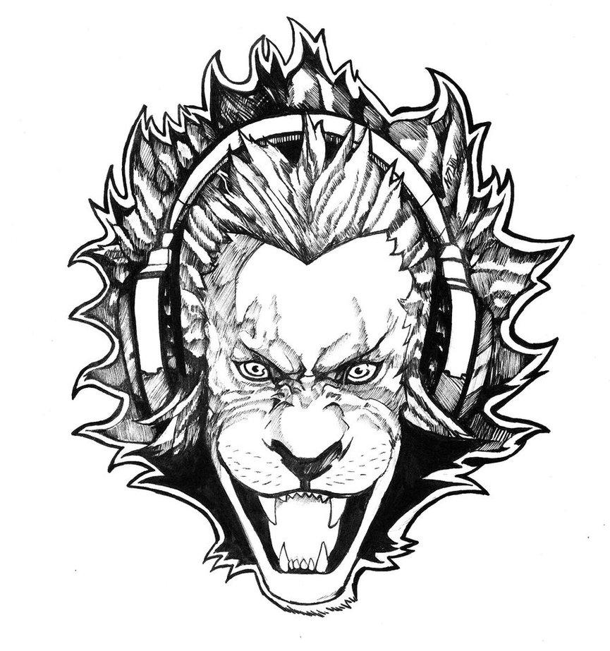 865x923 Lion With Headphones Commission By Nikolasdraperivey