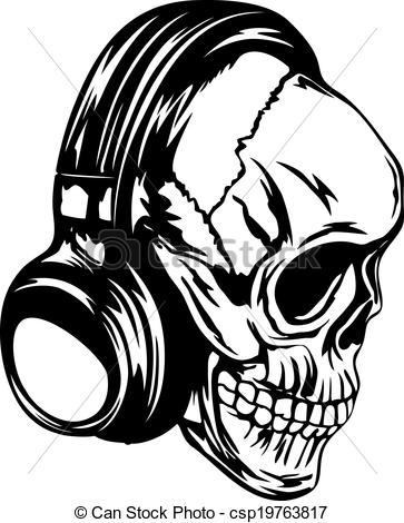 363x470 Skull Headphones Art Vector Illustration Human Skull