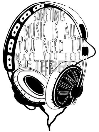337x450 Vector Hand Drawn Sketch Of Headphones Against White Background