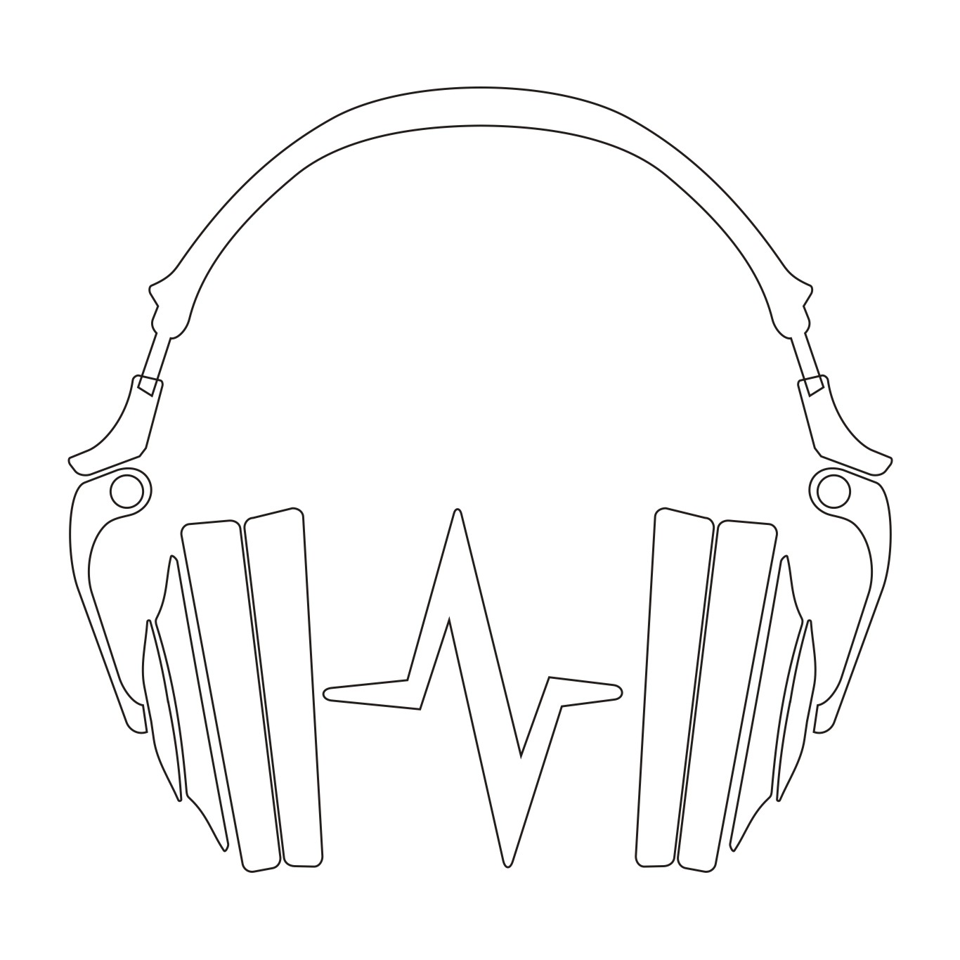1366x1366 Headphones Line Drawing