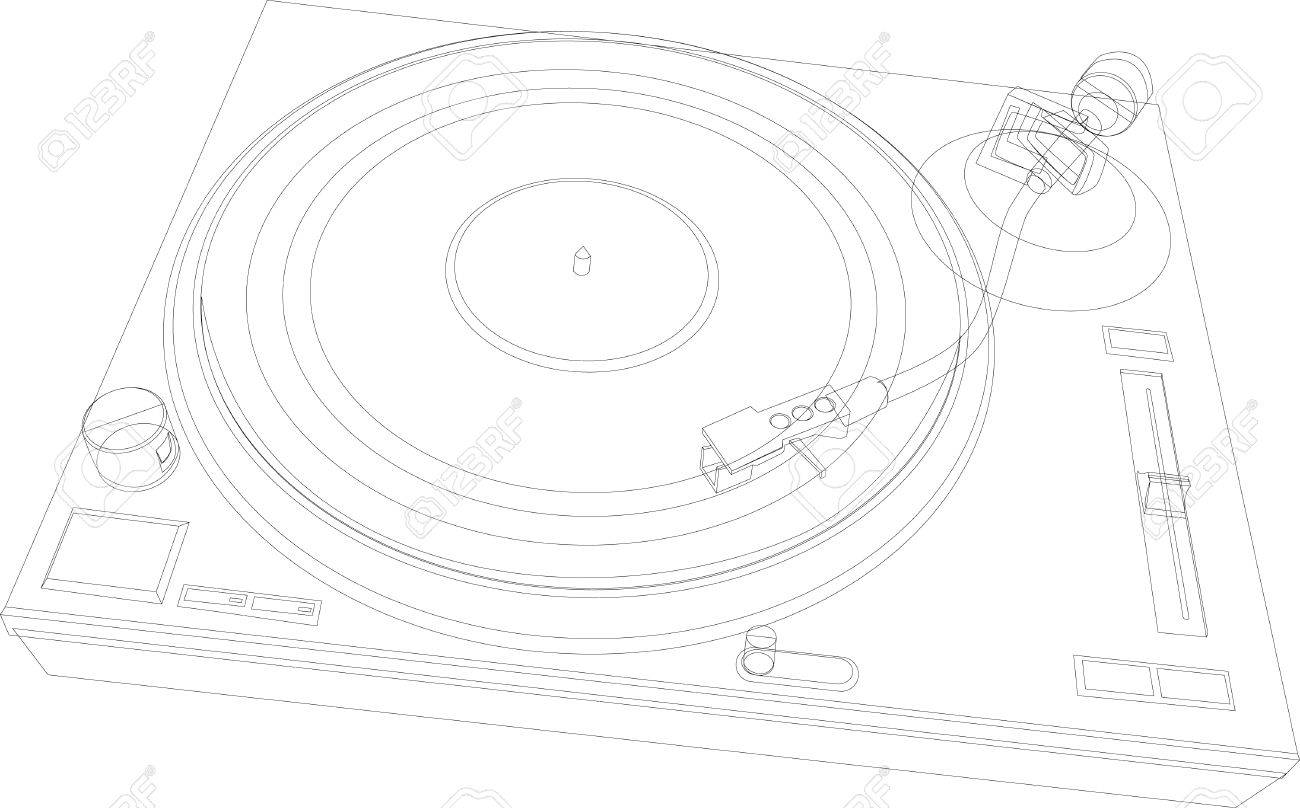 1300x808 Dj Deck Outline Royalty Free Cliparts, Vectors, And Stock