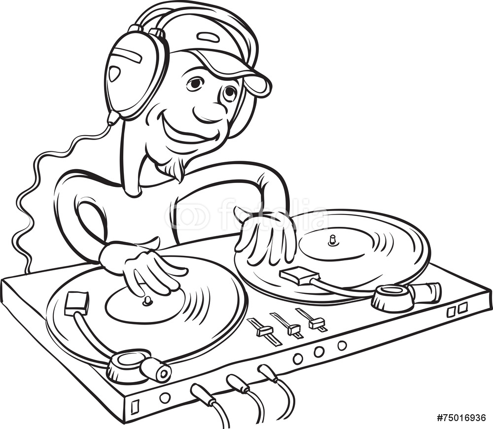 1000x870 Board Drawing Dj Playing On A Double Turntable Wall Sticker Wall